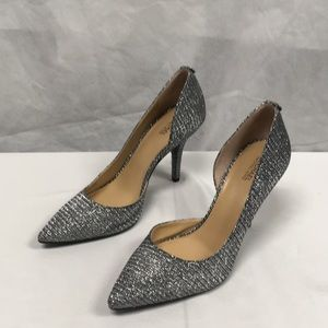 NWOT Michael Kors Silver Sparkle Heels Party Pumps